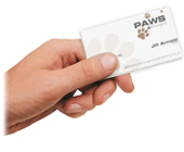 Image of a paws 4 thought dog training business card