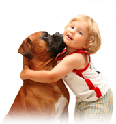 Image of a dog with a child